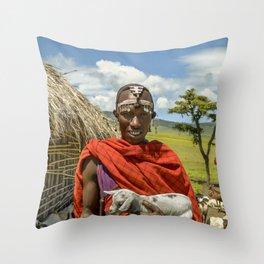 Maasai 4279 Tribesman with Goat Throw Pillow