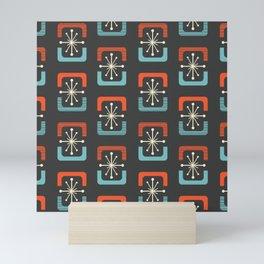 Mid Century Modern Starburst Shells Blue and Orange Mini Art Print