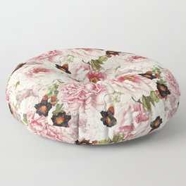 Small Vintage Peony and Ipomea Pattern - Smelling Dreams Floor Pillow