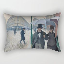 Paris Street; Rainy Day,  1877, Gustave Caillebotte Rectangular Pillow