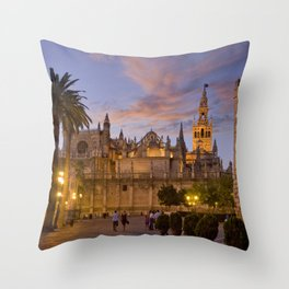 Seville, The Cathedral at dusk Throw Pillow