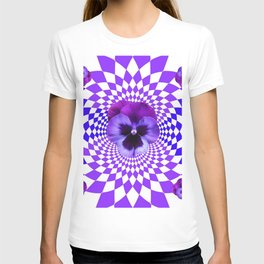 OPTICAL LILAC  PURPLE PANSIES GEOMETRIC ART T-shirt