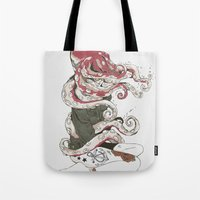 huebucket Tote Bags featuring My head is an octopus by Huebucket