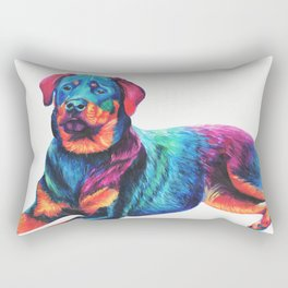 Colorful Rottweiler Rectangular Pillow