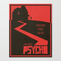 movie poster Canvas Prints featuring Psycho Movie Poster by Finlay McNevin
