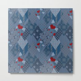 Denim patchwork rhombus with hearts. Metal Print