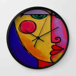 Colorful Abstract Face Digital Painting Wall Clock