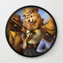 Cowboy Cats and Deputy Dog ~! Wall Clock