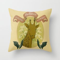 conceive-believe-achieve. giraffe portrait Throw Pillow
