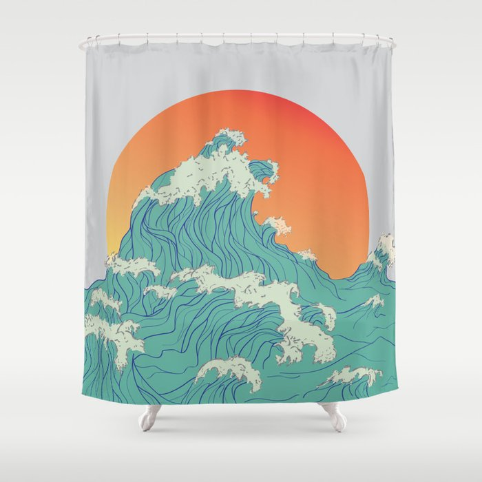 Sunset Waves Shower Curtain
