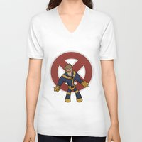 cyclops V-neck T-shirts featuring Cyclops by Twisted Dredz