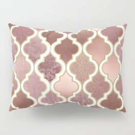Rosegold Pink and Copper Moroccan Tile Pattern Pillow Sham