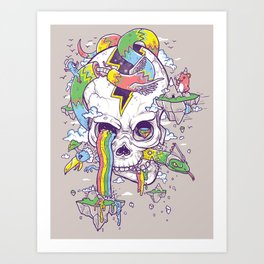 Flying Rainbow skull Island Art Print