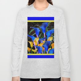 BLUE-BLACK MODERN ABSTRACT BLUE & GOLD CALLA LILIES Long Sleeve T-shirt