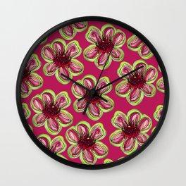 Geraldton Wax Flowers on dark pink Wall Clock