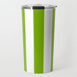 Microsoft green - solid color - white vertical lines pattern Travel Mug