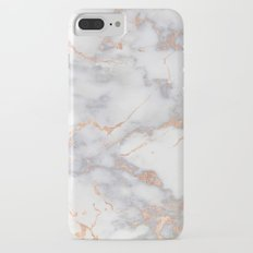 Grey Marble Rosegold  Pink Metallic Foil Style iPhone 8 Plus Slim Case