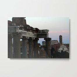 Roman Forum and Colosseum of Rome at Sunset Metal Print