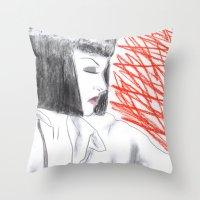 mia wallace Throw Pillows featuring Mia Wallace by Natália Damião