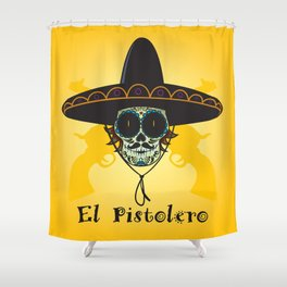 El Pistolero.Mexican sugar skull Shower Curtain