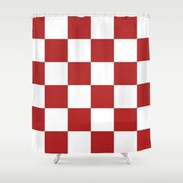 Large Checkered - White and Firebrick Red Shower Curtain