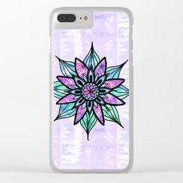 Hand Drawn Watercolor Flower on Purple Tie Dye Clear iPhone Case