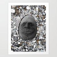 Happy Alien Monster Rock face , portrait in stone effect Art Print