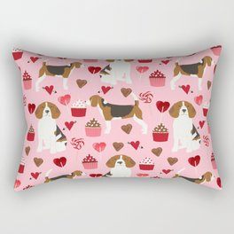 Beagle valentines day dog breed pet portrait dog lovers perfect gift i love you pet portrait Rectangular Pillow