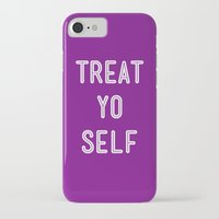 parks and recreation iPhone & iPod Cases featuring Treat Yo Self Purple - Parks and Recreation by Sandra Amstutz