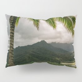 Hanalei Valley Lookout Kauai Hawaii | Tropical Island Nature Coastal Travel Photography Print Pillow Sham