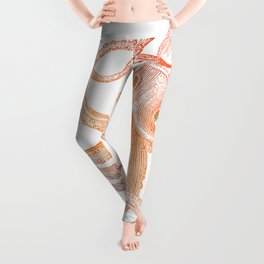 Orange and blue vintage octopus Leggings