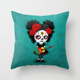 Day of the Dead Girl Playing Cameroon Flag Guitar Throw Pillow