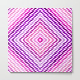 Pixel Diamond Pink Purple Lavender Metal Print