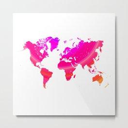 Pink world map Metal Print
