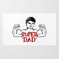 dad Area & Throw Rugs featuring Super dad by Artbox designs