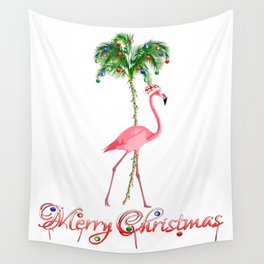 Merry Christmas Pink Flamingo Beach Xmas Wall Tapestry