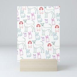 Jewel Tone Dog Line Drawing Mini Art Print