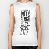 pittsburgh Biker Tanks featuring Pittsburgh Steelers by Sciulli