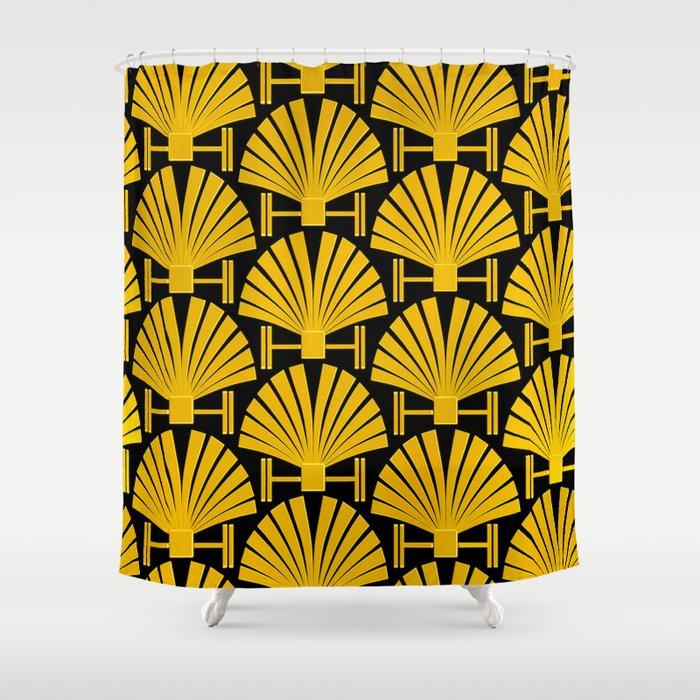 Art Deco Gold Palm Fan Pattern Shower Curtain