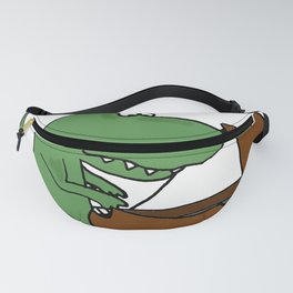 Funny Green T-Rex Dinosaur Playing the Piano Fanny Pack