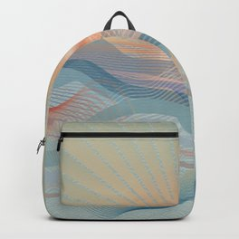 Beautiful Ocean Waves And Sunset Backpack