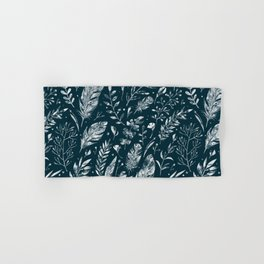 Feathers And Leaves Abstract Pattern Black And White Hand & Bath Towel