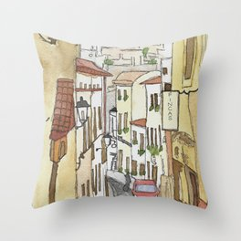 Spanish Street (Sitges, Spain) Watercolor Painting Throw Pillow