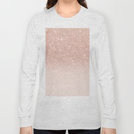 Rose gold faux glitter pink ombre color block Long Sleeve T-shirt
