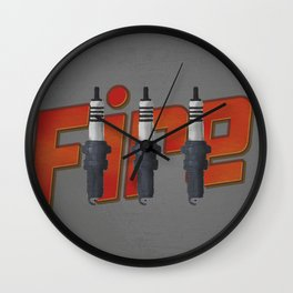 Fire, spark plug Wall Clock