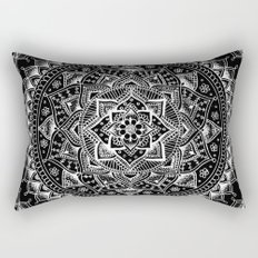 White Flower Mandala on Black Rectangular Pillow