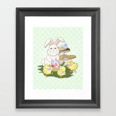 White Rabbit and Easter Friends Framed Art Print