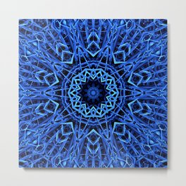 Blue Nature Mandala  Psychedelic Pattern Metal Print