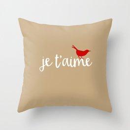 burlap je t'aime red bird Throw Pillow