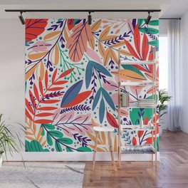 Modern abstract coral forest green floral illustration Wall Mural